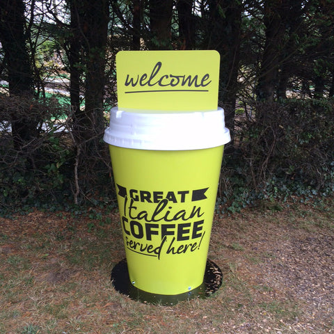custom printed branded giant coffee cup pavement sign