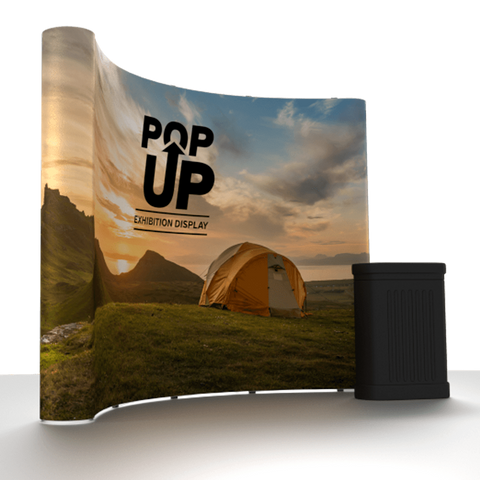 Curved Pop Up Display (single sided) Including Lights & Case with Table Top!
