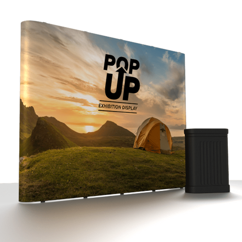 Straight Pop-Up Exhibition Display Stand with Case, Table Top and Spotlights