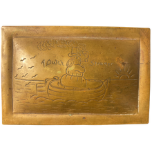 "1800's Brass Folk Art Box ""Dutch Steamer"" Engraved"