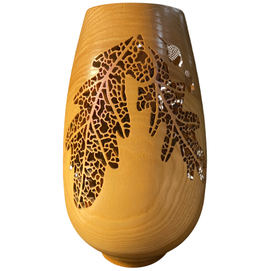Wooden Vase with Leaf Carvings