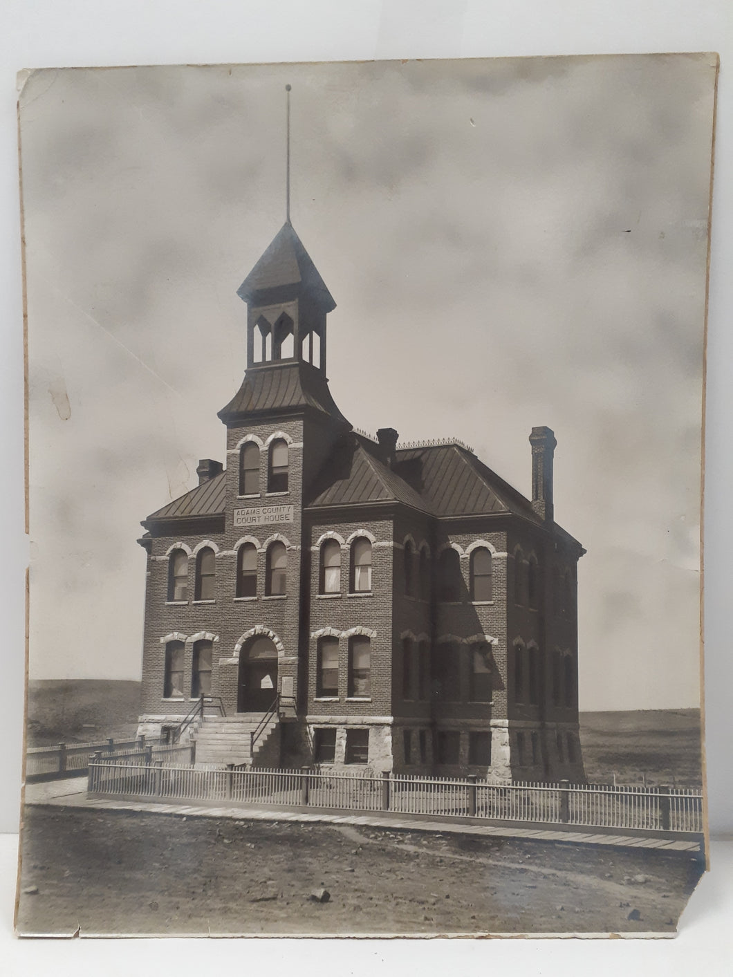Large Original Adams Washington State Court House Photo 1900's