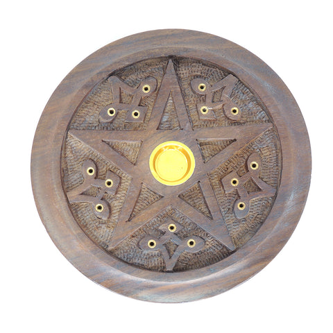 "5"" Round Wood Carved Stick/Cone Incense Burner - Pentacle"