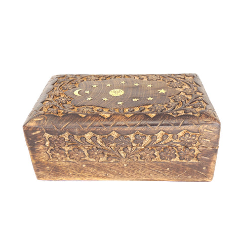 Carved Wooden Keepsake Box - Floral Celestial Inlay