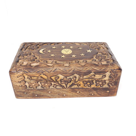 6.5in Carved Wooden Keepsake Box - Floral Celestial Inlay