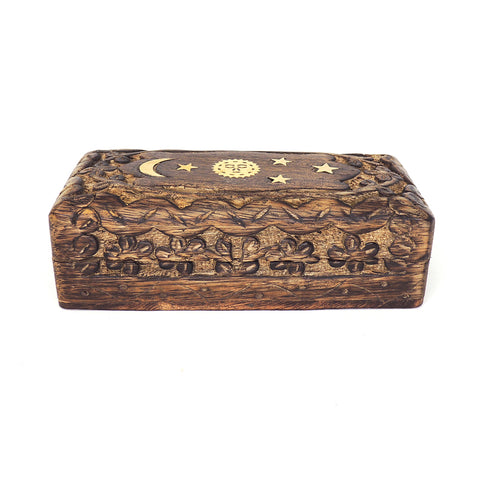 5.5in Carved Wooden Keepsake Box - Floral Celestial Inlay