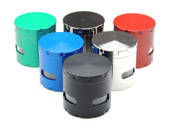 4 Piece Metal Grinder with Side Windows