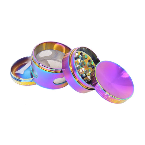 50mm 4 piece Concave Top Rainbow Herb Grinder with Windows