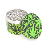4 Part 50mm Grinder with Wrapped Design Wrapped - Leaves and Skulls