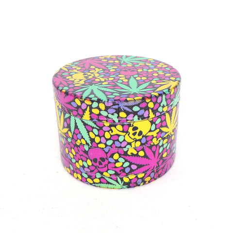 4 Part 50mm Grinder with Wrapped Design Wrapped - Pink Skulls and leaves