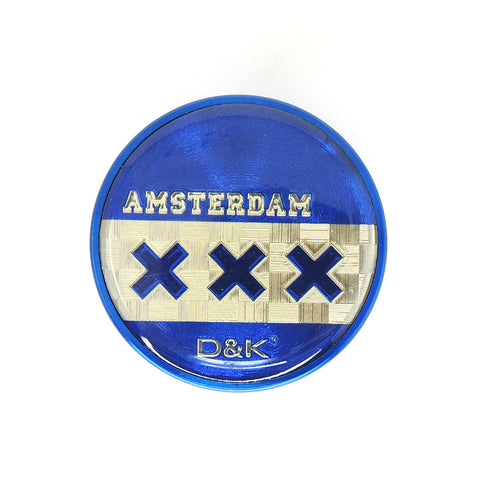 3 Part 50mm Grinder with Amsterdam Logo - Blue Cross