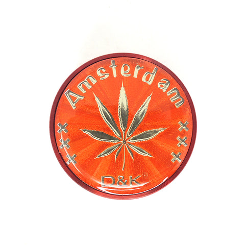 3 Part 50mm Grinder with Amsterdam Logo - Red D&K