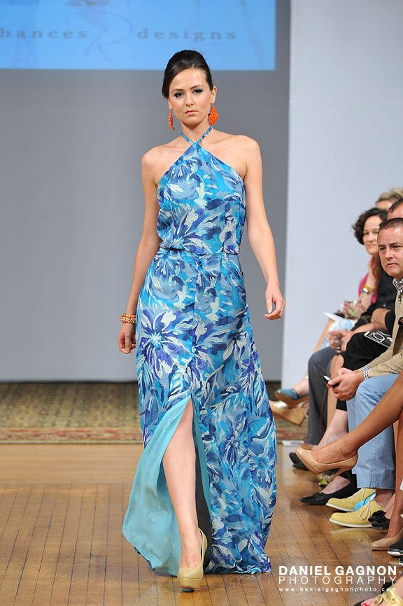 Blue, Floral Halter Dress