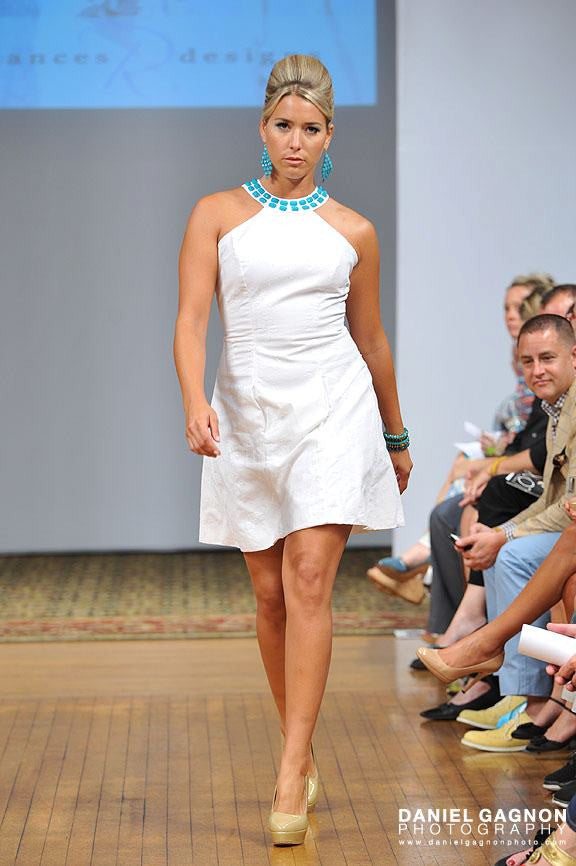 White Linen Halter Dress with Floral Sequins and Hand Sown Turquoise Beaded Neck Line