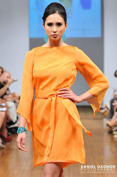 Orange Bell Sleeved Knee Length Dress