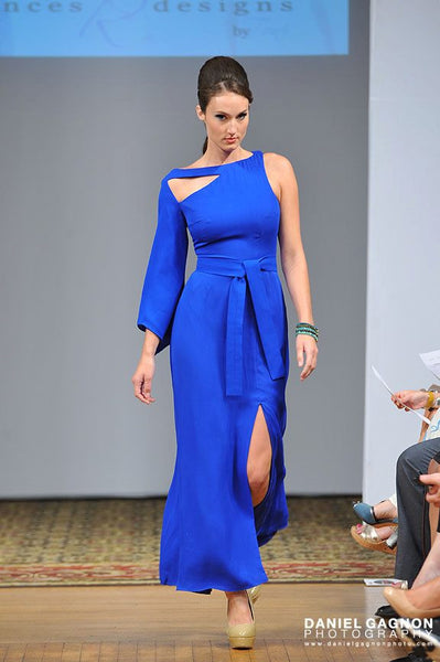 Blue One Shoulder Dress with Cut Out Detail Front and Back