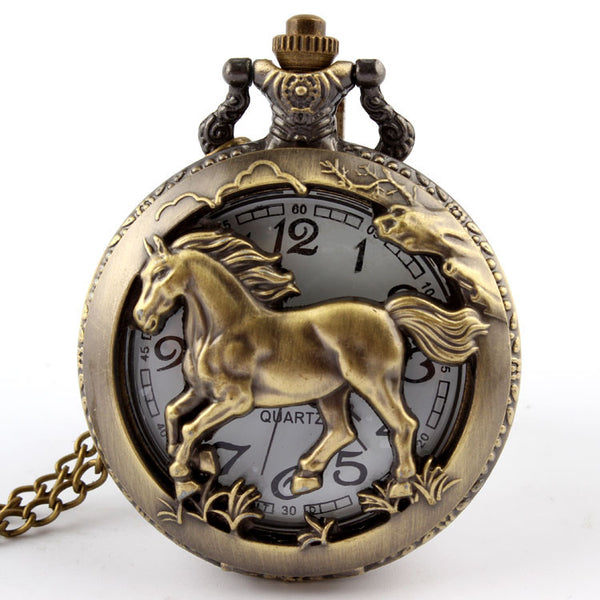 Pocket watch necklace For horses lovers