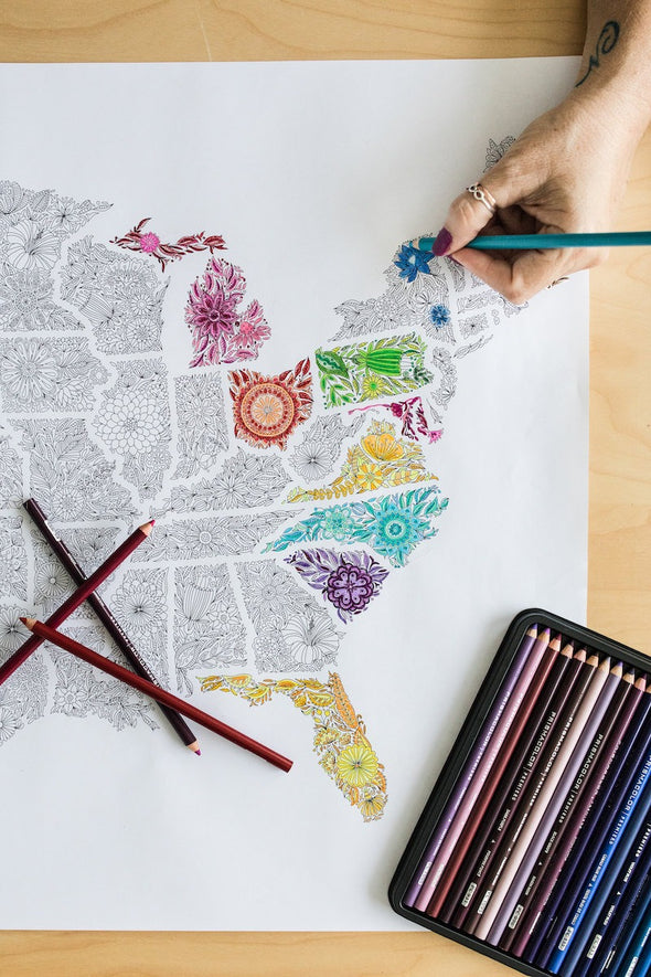 Flowers US coloring map