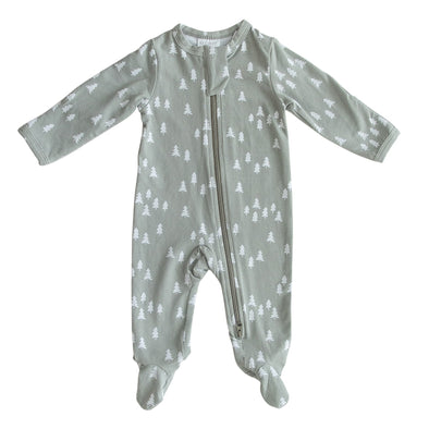 pines floral cotton footed onesie