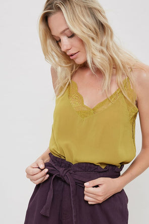Lace cami mustard