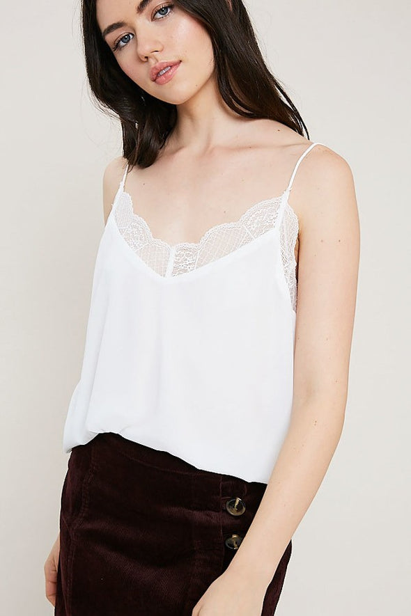 lace cami-white