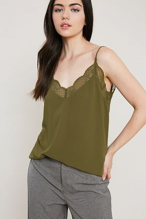 lace cami-olive