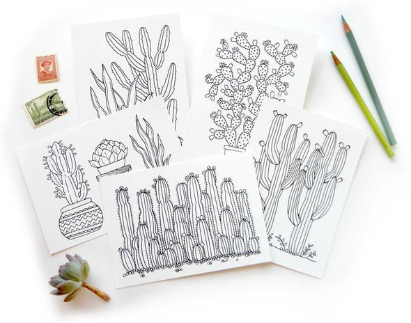cactus coloring post cards