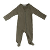 winter green cotton ribbed zipper footie