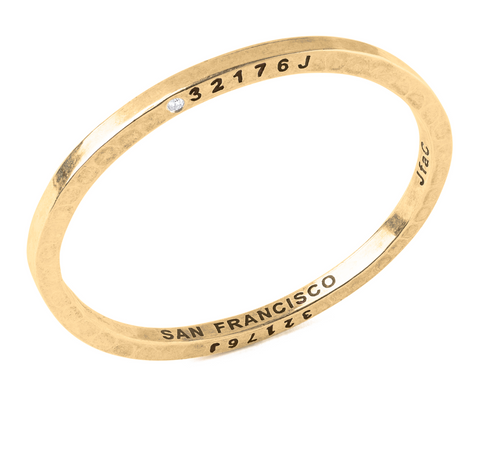 Brass Bangle with 1 Diamond San Francisco