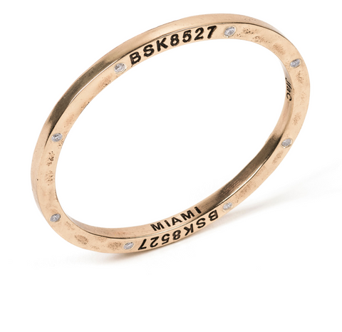 Brass Bangle with 8 Diamonds Miami