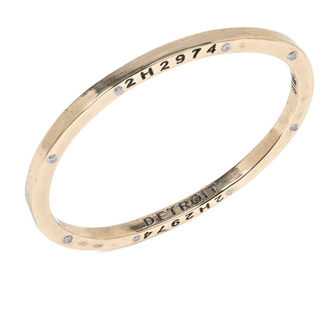 Brass Bangle with 8 Diamonds Detroit