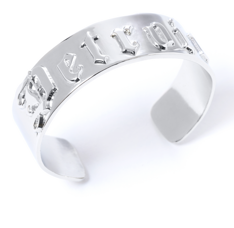 'D' Cuff-White Gold Plated Detroit