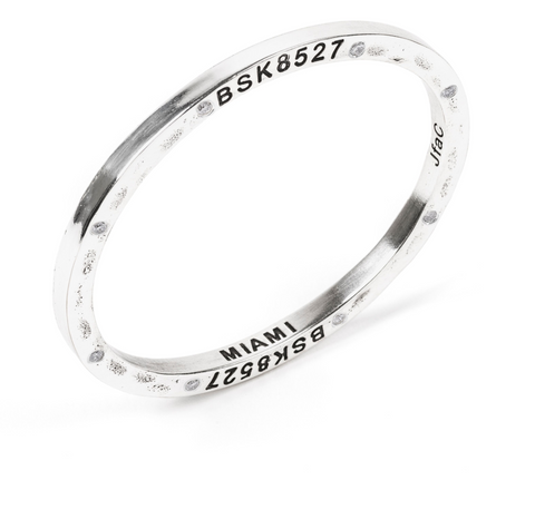 Steel Bangle with 8 Diamonds Miami