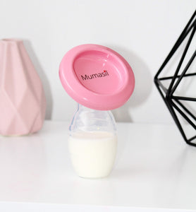 Mumasil silicone breast pump used to collect breastmilk