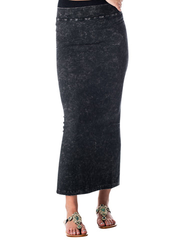 Hard Tail Fit n Flare side slit pencil skirt (charcoal mineral wash)