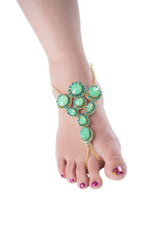 Mystique green stone foot jewelry