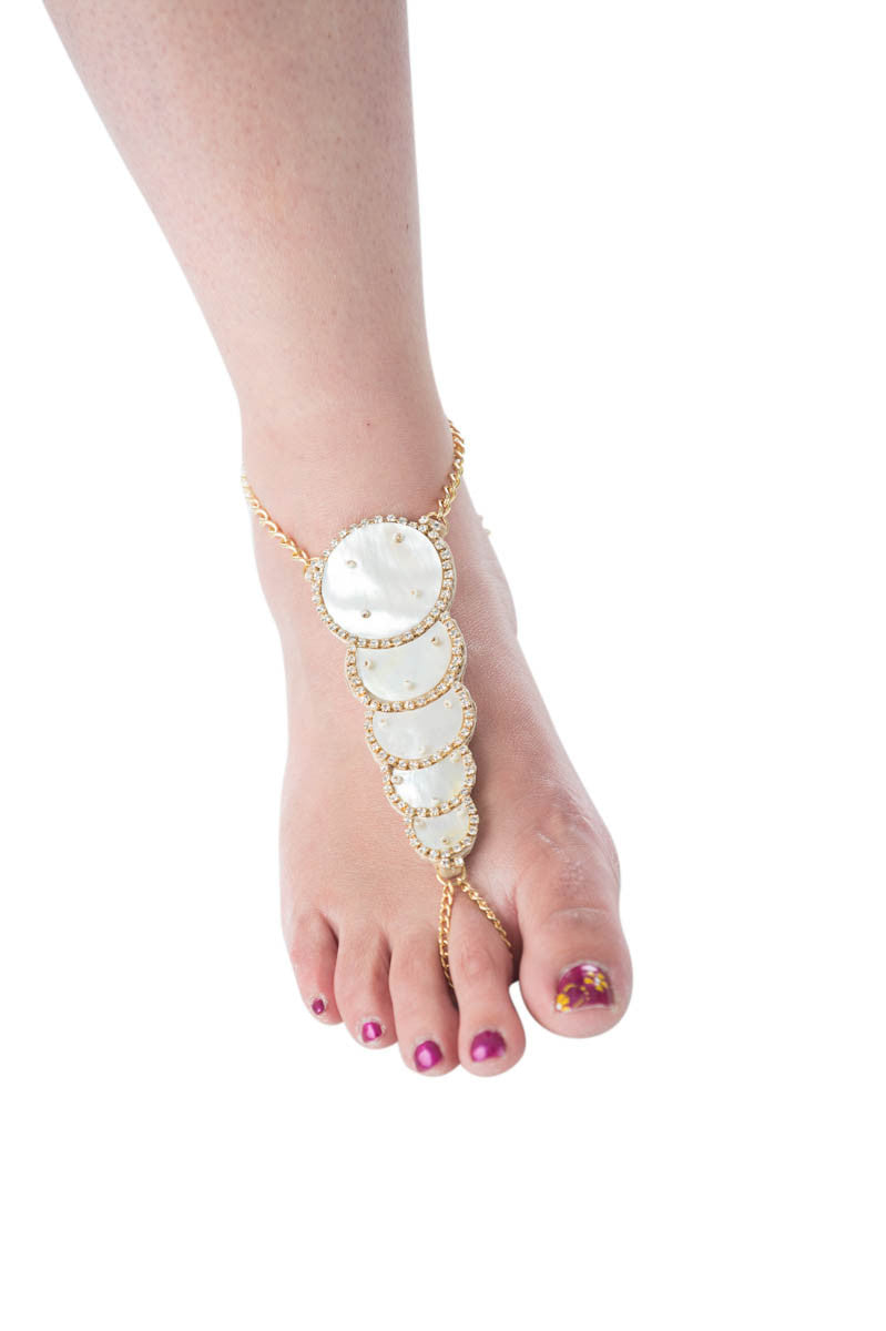 Mystique Gold & mother of pearl foot jewelry