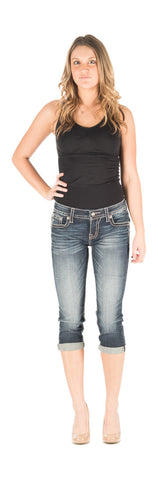Miss Me dark wash embellished mid-rise capris