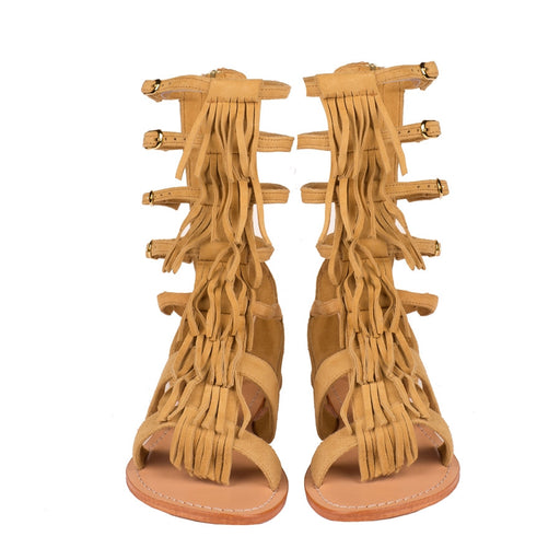 Mystique Gladiator fringe flat sandals in light brown
