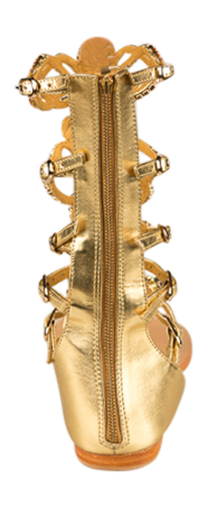 Mystique Gold and clear stone gladiator flat sandals