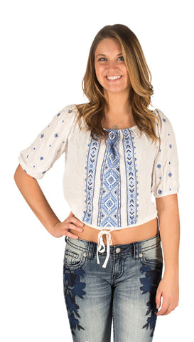 Miss Me blue aztec peasant top