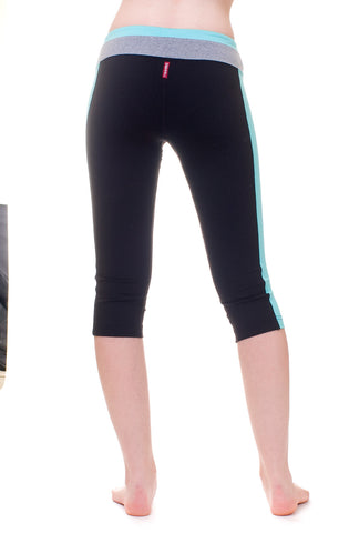 Hard Tail flat waist capri leggings (tri-tone)