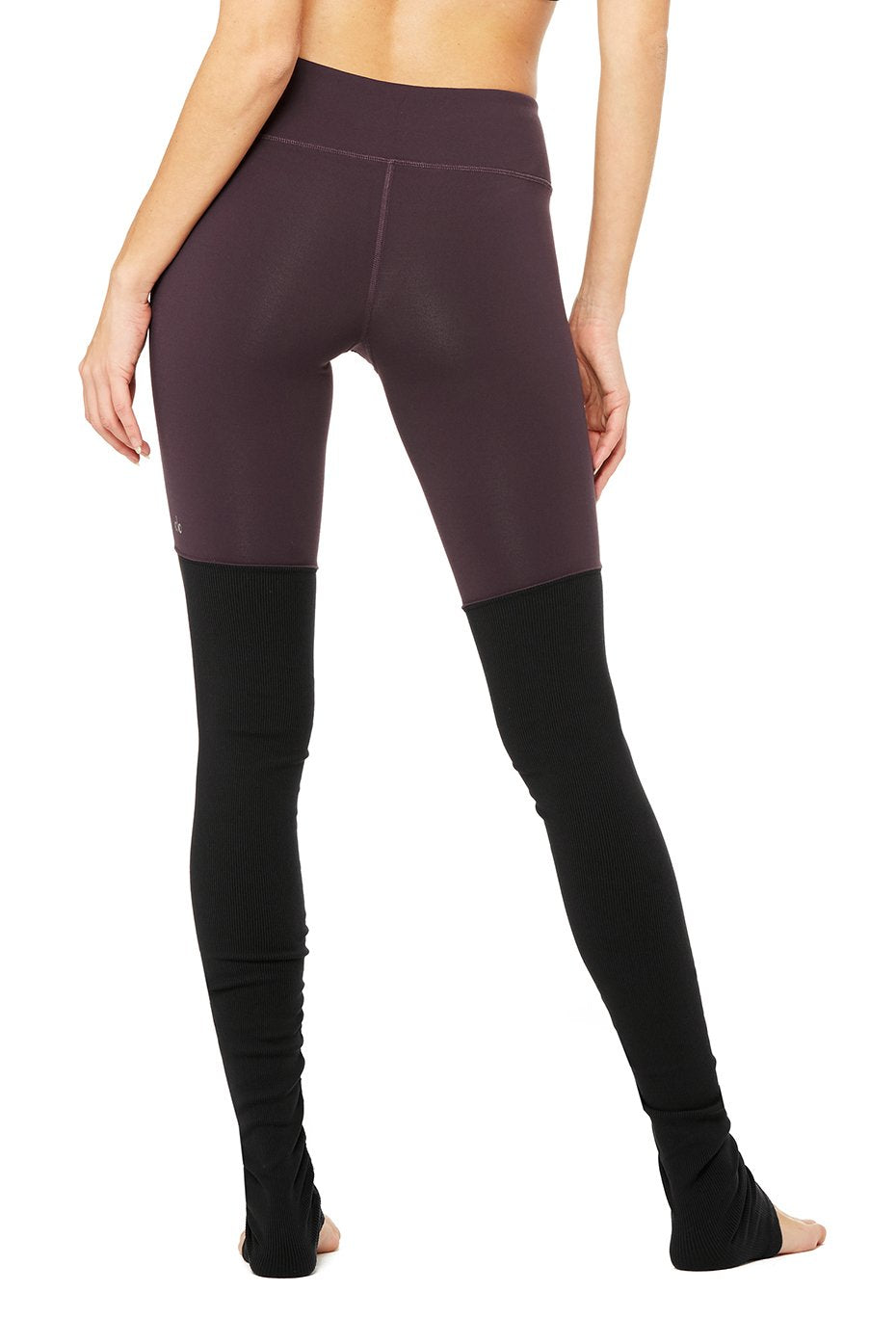 Alo Yoga Goddess leggings (eggplant/black)