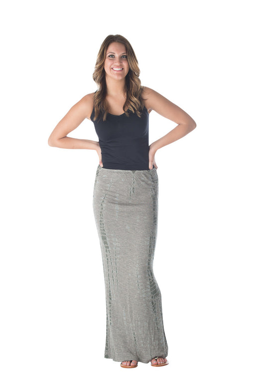 Hard Tail fitted long maxi skirt in (beige & olive tie dye) DUO-04