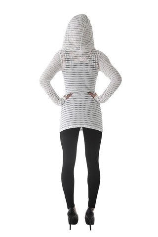 Hard Tail long sleeve v-neck hoody (white)