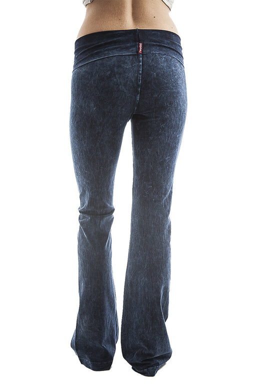 Hard Tail bootcut rolldown pants in navy mineral wash