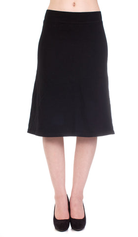 Hard Tail flat waist A-line skirt (black)