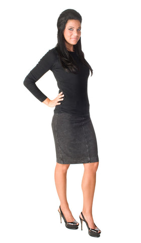 Hard Tail denim wash knee skirt (charcoal)