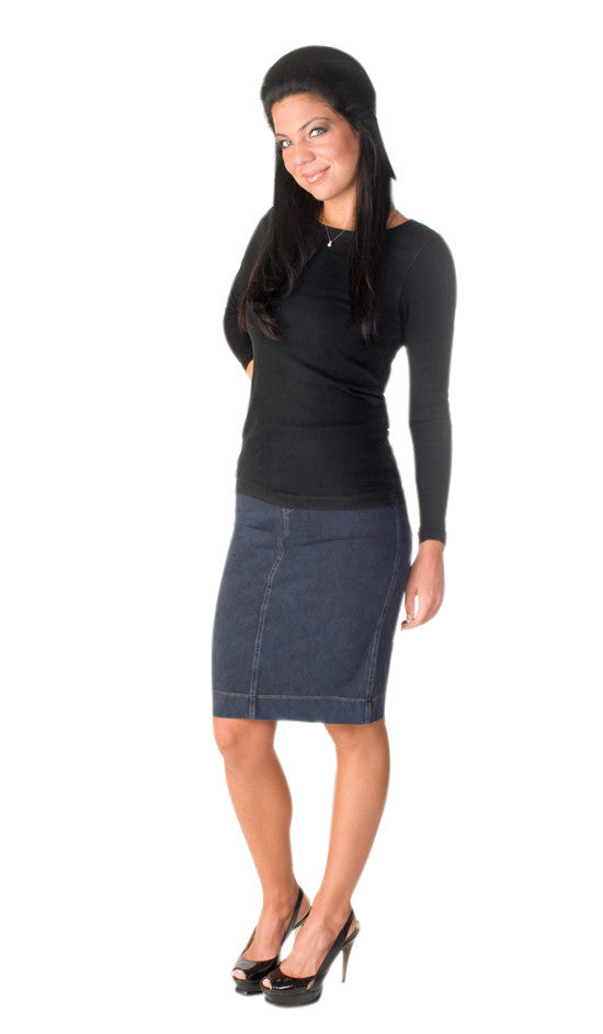Hard Tail denim wash knee skirt (navy)