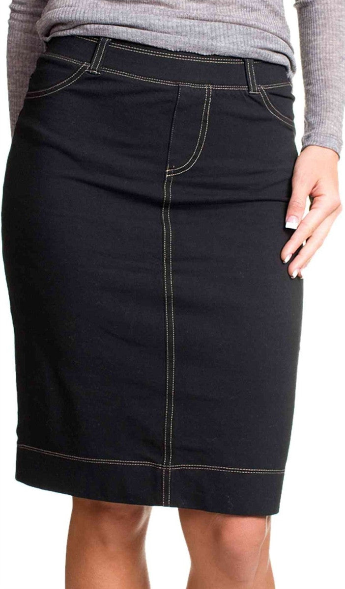 Hard Tail Skinny Black Denim Wash Skirt